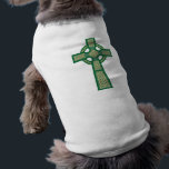 """Green Celtic Cross Dog Shirt<br><div class=""""desc"""">Green Celtic Cross Dog Shirt.  Celtic Crosses were mostly made of stone,  and remained an inspirational symbol around Ireland,  Wales,  and Britain.  Eventually,  the Celtic Cross spread throughout the British Isles.  This design is available in various colors,  so be sure to check out my other Celtic Cross products!</div>"""