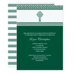 Green Celtic Cross First Holy Communion Invitation