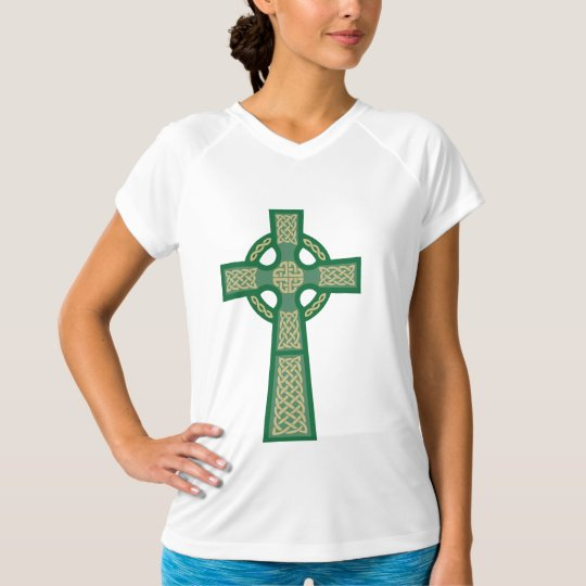 Green Celtic Cross Ladie's Micro Fiber Sleeveless T-Shirt