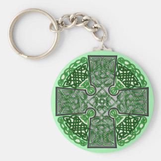 Green Celtic Cross Medallion Keychain
