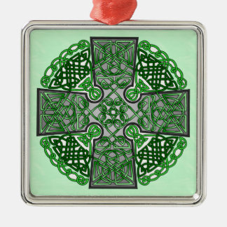 Green Celtic Cross Medallion Metal Ornament