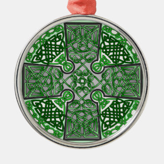 Green Celtic Cross Medallion Round Metal Christmas Ornament