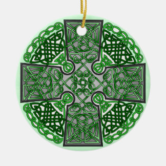 Green Celtic Cross Medallion Double-Sided Ceramic Round Christmas Ornament