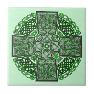 Green Celtic Cross Medallion Tile