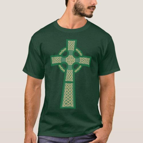 Green Celtic Cross Mens Dark T_Shirt