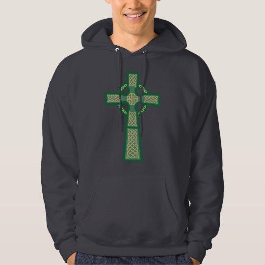 Green Celtic Cross Men's Hoodie Sweatshirt