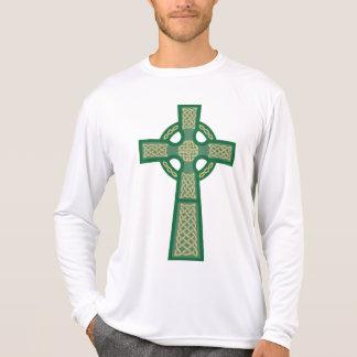 Green Celtic Cross Men's Micro Fiber Long Sleeve T-shirts