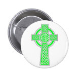Green Celtic cross Pinback Button