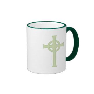 Green Celtic Cross Ringer Mug