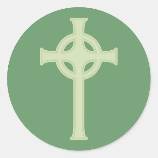 Green Celtic Cross Round Sticker