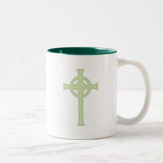 Green Celtic Cross Two-Tone Coffee Mug