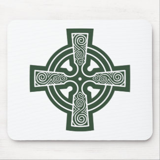 Green Celtic Cross with Triskele Engraving Mouse Pad
