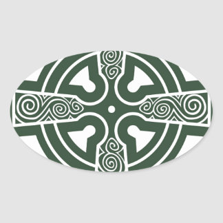 Green Celtic Cross with Triskele Engraving Oval Sticker