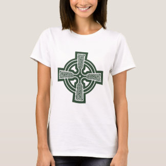 Green Celtic Cross with Triskele Engraving T-Shirt