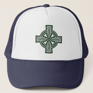 Green Celtic Cross with Triskele Engraving Trucker Hat