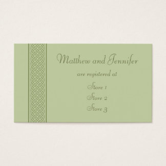 Green Celtic Custom Wedding Gift Registry Cards