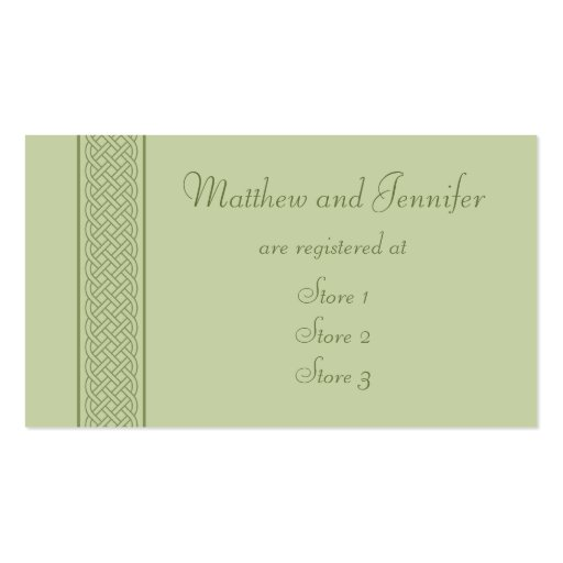 Wedding Gift Registry Card Template : Green Celtic Custom Wedding Gift Registry Cards Business Card