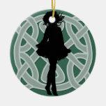 Green Celtic Dancer Ornament