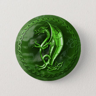 Green Celtic Dragon Button
