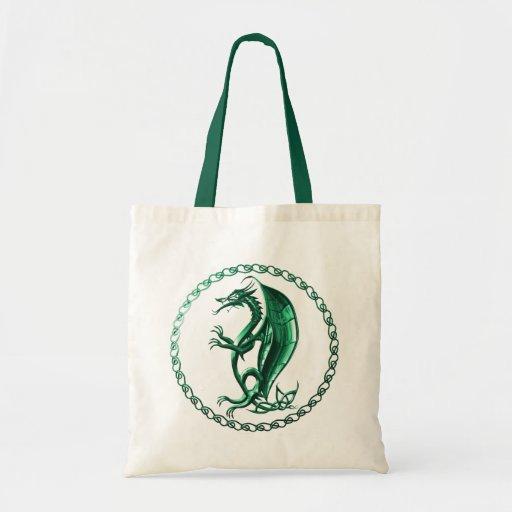 Green Celtic Dragon Canvas Bag