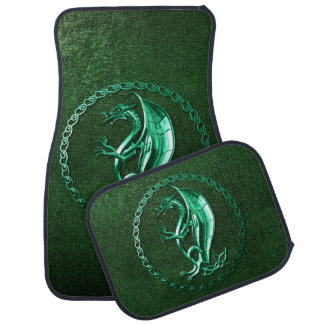 Green Celtic Dragon Car Mat
