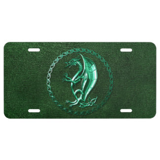 Green Celtic Dragon License Plate