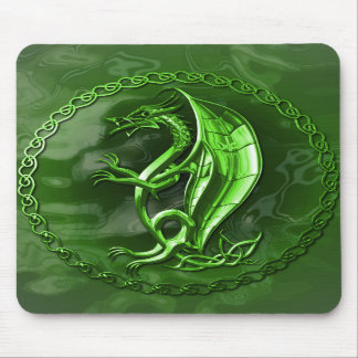 Green Celtic Dragon Mouse Pads