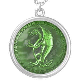 Green Celtic Dragon Custom Necklace