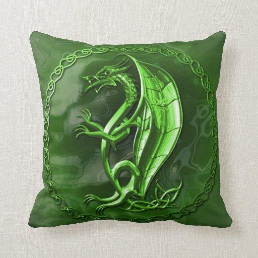 Green Celtic Dragon Pillow