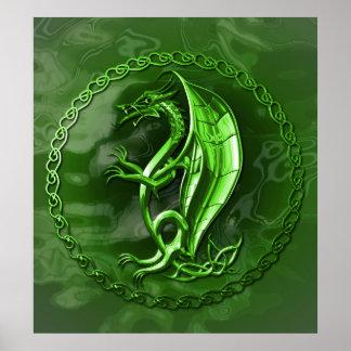 Green Celtic Dragon Poster