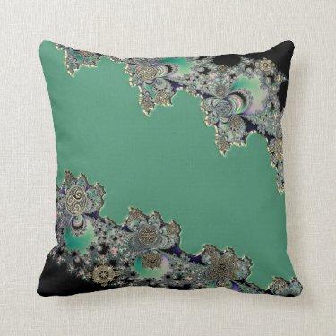 Green Celtic Fractal Design Throw Pillow