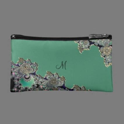 Green Celtic Fractal Makeup Bag
