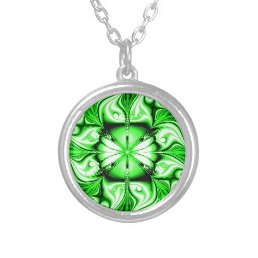 Green Celtic Fractal Round Pendant Necklace