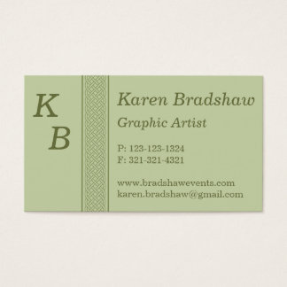 Green Celtic Graphic Artist / Design Business Card