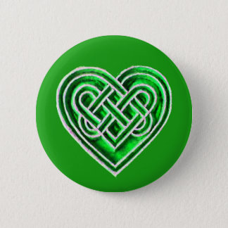 Green Celtic Heart - Irish Inspired Button Pin