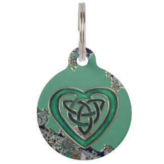 Green Celtic Heart On Mystical Fractal Pet Tag