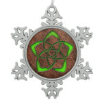 Green celtic knot flower on genuine leather snowflake pewter christmas ornament