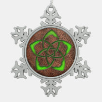 Green celtic knot flower on genuine leather