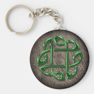 Green celtic knot on genuine leather keychain