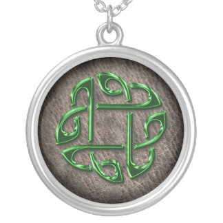 Green celtic knot on genuine leather custom jewelry