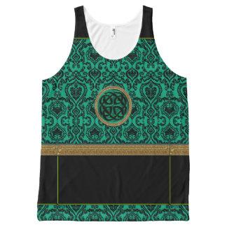 Green Celtic Knot on Irish Green Damask Tank Top