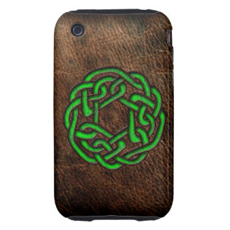 Green celtic knot on leather tough iPhone 3 cases