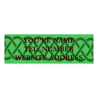 Green Celtic knot on light green Business Card Templates