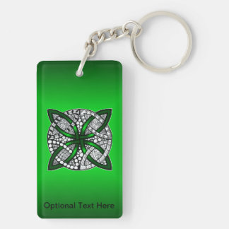 Green Celtic Knot Original Art Double-Sided Rectangular Acrylic Keychain