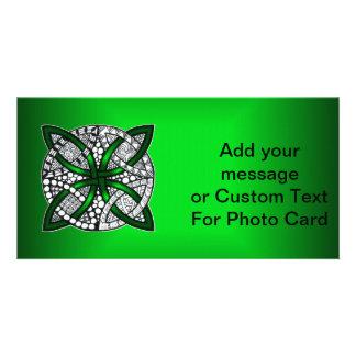 Green Celtic Knot Original Art Photo Greeting Card