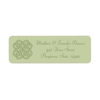 Green Celtic Knot Thin Envelope Address Labels