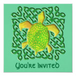 Green Celtic Knot Turtle Invitations