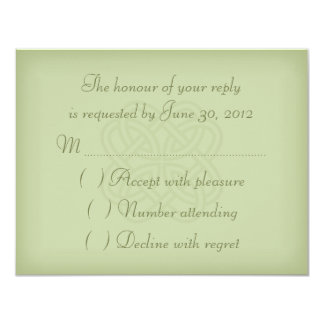 Green Celtic Knot Wedding Invitation RSVP Card Custom Invitations