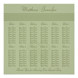 Green Celtic Knot Wedding Reception Seating Chart Posters