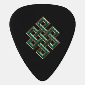 Green Celtic Knots Symbols Guitar Pick